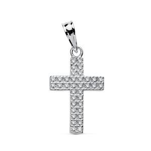 Cruz de Oro Blanco 18kt con Circonitas