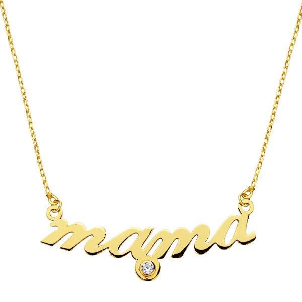 Gargantilla de Oro 18kt con palabra mamá y circonita central -45cm