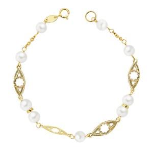 Pulsera para niña Oro 18kt 1ª Comunión con perlas blancas y motivos calados - 17cm