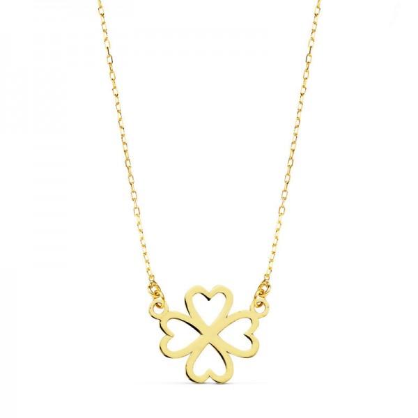 Gargantilla en oro amarillo de 18 ktes formada por cadena de eslabones tipo forzada y trebol de la suerte calado