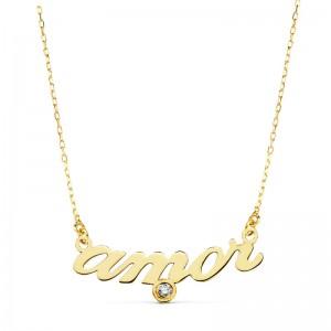 """Gargantilla """"Amor"""" Oro 18kt con cadena forzada y circonita."""