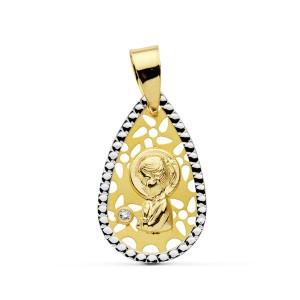 Medalla oval con flores caladas y circonita en Oro 18kt 15 x 12mm