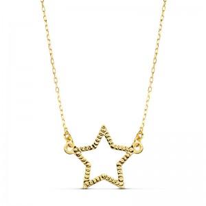 Gargantilla en oro amarillo de 18 ktes formada por cadena de eslabones tipo forzada y estrella tallada plana calada