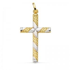 Cruz Bicolor Tallada de Oro 18kt