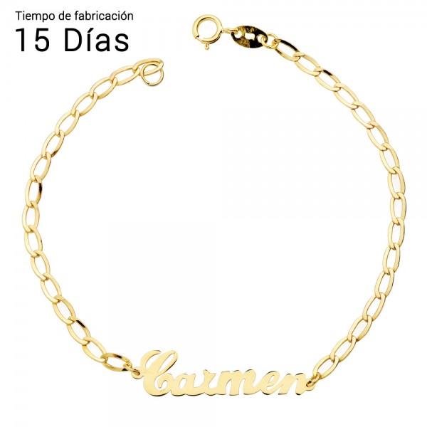 Pulsera personalizada en Oro 18kt con cadena Bilbao - 17cm