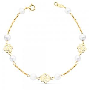 """Pulsera """"Mitjana"""" para niña en Oro 18kt con perlas y flores - 17cm"""