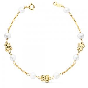 """Pulsera """"Bassa"""" para niña en Oro 18kt 1ª Comunión con perlas y ositos - 17cm"""