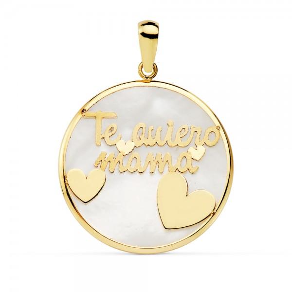 Colgante de Oro 18kt circular con fondo en nácar y frase te quiero mamá -20mm
