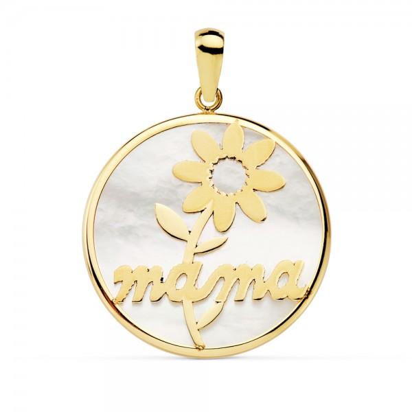 Colgante redondo en Oro 18kt la palabra mamá y flor primaveral con fondo en nácar -20mm