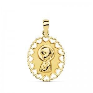 Medalla con borde calado y Virgen Niña en Oro 18kt 15 x 12mm