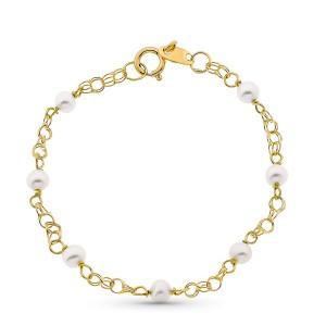 Pulsera para bebé con perlitas blancas hecha en Oro de 18 Kt -12cm