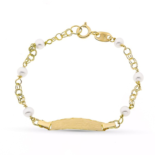 Esclava con perlas blancas para bebé en Oro de 18 Kt -12 cm