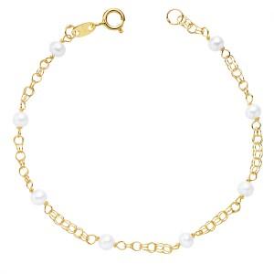 """Pulsera """"Millor"""" para niña 1ª Comunión en Oro 18kt con perlas - 17cm"""