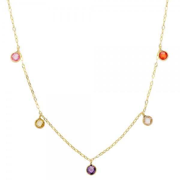 Gargantilla oro 18kt con cadena forzada y piedras de colores
