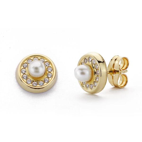 Pendientes de Oro 18kt con perlas y circonitas