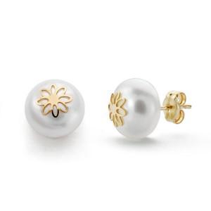 Pendientes de Oro de 18 kt con perla blanca y flor central
