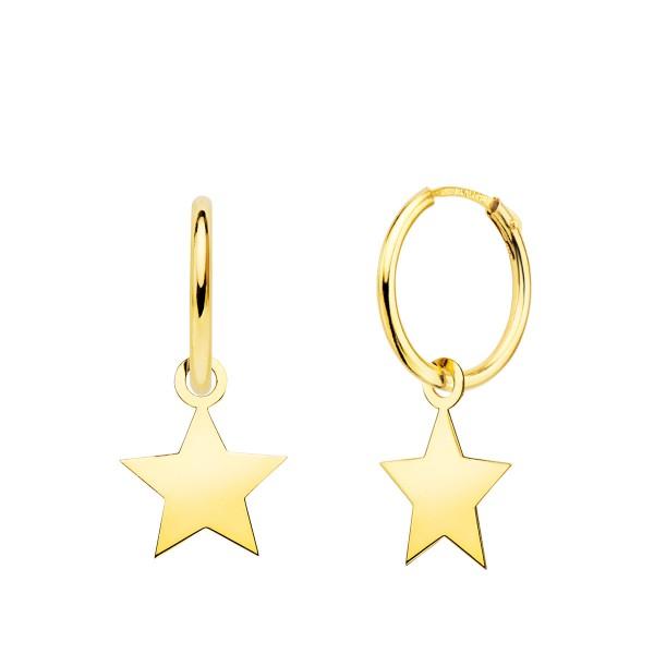 Pendientes de Aro 18kt con charm de Estrella