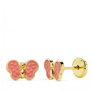 Pendientes Mariposas Esmaltadas en color rosa Oro 18kt