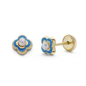 Pendientes con perla y esmalte color azul en Oro 18Kt -5mm