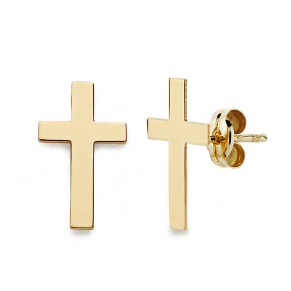 Pendientes de Oro 18kt en forma de cruz