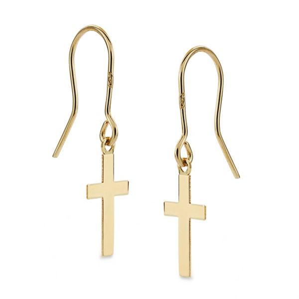 Pendientes de Oro 18kt con cruz