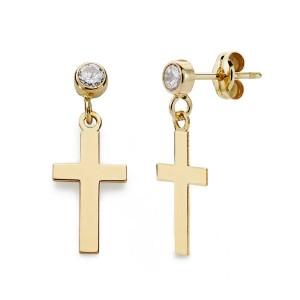 Pendientes de Oro 18kt con cruz y chaton circonita