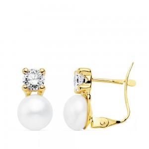 """Pendientes """"les deux"""" en Oro 18kt con circonita y perla blanca"""