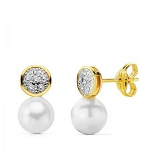 """Pendientes """"Amelie"""" en Oro 18kt con piedra transparente y perla redonda"""