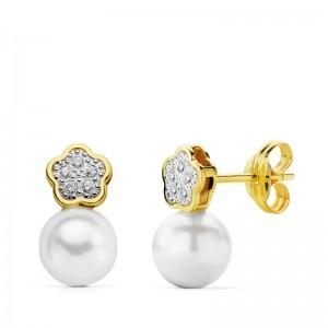 """Pendientes """"Camile"""" en Oro 18 kt con perla redonda y flor de circonitas"""