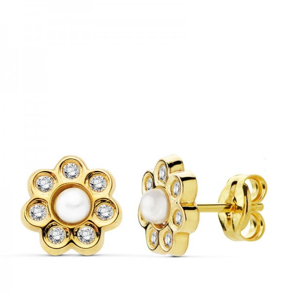 Pendientes en Oro 18kt con pétalos de circonitas y perla central blanca