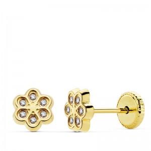 Pendientes Oro 18Kt con seis piedras semipreciosas forma de flor
