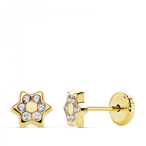 Pendientes Estrella con círculo de circonitas en Oro 18Kt -5mm