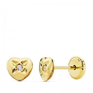 Pendientes de corazon con circonita Oro 18kt