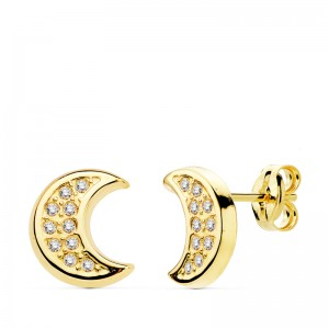 Pendientes media luna Oro 18KT circonitas 9x8 mm