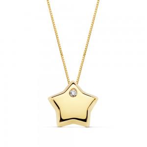 Colgante de estrella con circonita y cadena veneciana Oro 18kt