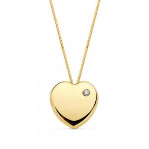 Colgante de corazon con circonita y cadena veneciana Oro 18kt