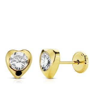 Pendientes Corazón en Oro 18Kt y piedra redonda central
