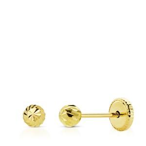 Pendientes Bebé bola de Oro 18Kt tallada -3mm