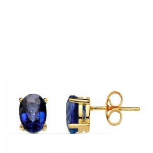 Pendientes de Zafiros Azul montados en garra Oro 18kt