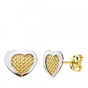 Pendientes Corazón de Oro Amarillo y Oro Blanco de 18Kt