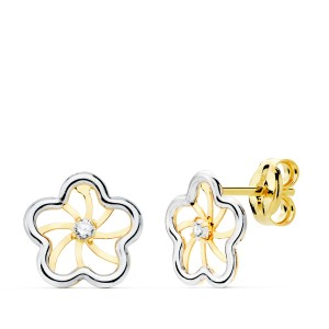 Pendientes Babba Flor calada en Oro Amarillo y Blanco de 18Kt -8mm