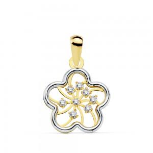 Colgante Babba Flor calada en Oro Amarillo y Oro Blanco de 18Kt -13mm