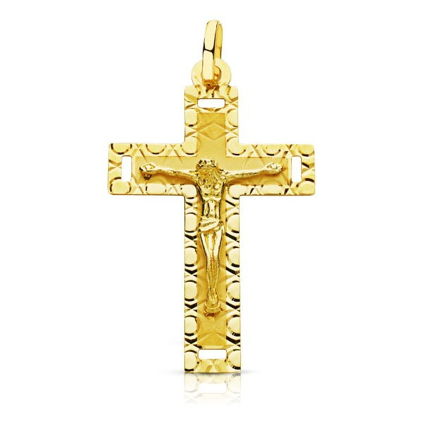 Cruz Tallada con Cristo de Oro 18kt.