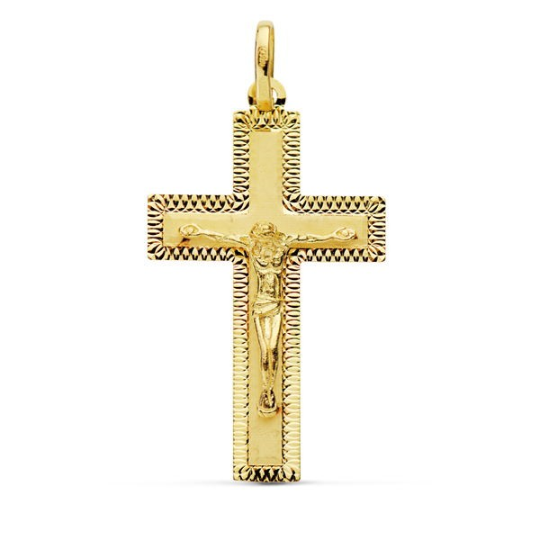 Cruz de Oro 18kt con Cristo y bordes tallados