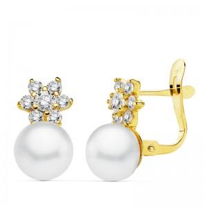 """Pendientes """"Stela"""" en Oro 18kt con perla blanca"""