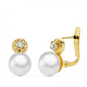 """Pendientes """"Bianca"""" forma Tú y Yo en Oro 18kt con piedra y perla"""