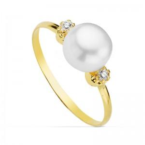"""Sortija """"Bianca"""" en Oro de 18kt con perla central y circonitas"""