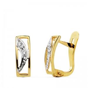 """Pendientes """"Arcata"""" forma rectangular en Oro de 18kt y medio arco con circonitas"""
