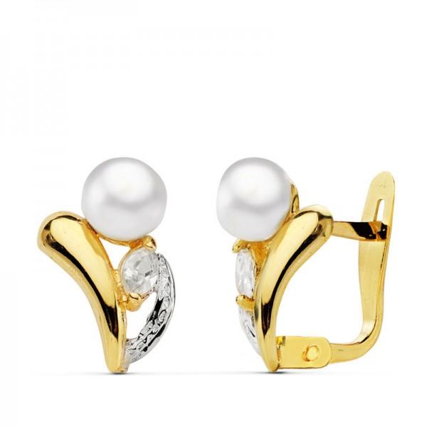 """Pendientes """"Gioia"""" con perla blanca y circonita en Oro 18kt"""