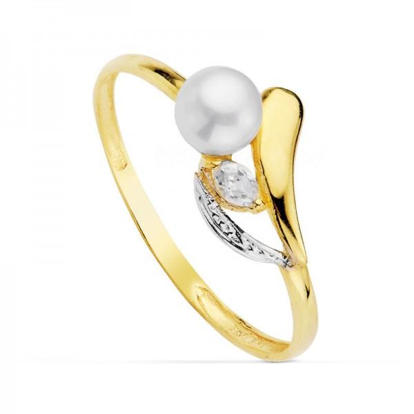"""Sortija """"Gioia"""" con perla blanca y circonita en Oro 18kt"""